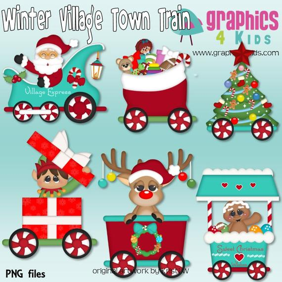 Winter Village Town Train christmas Digital Clipart.
