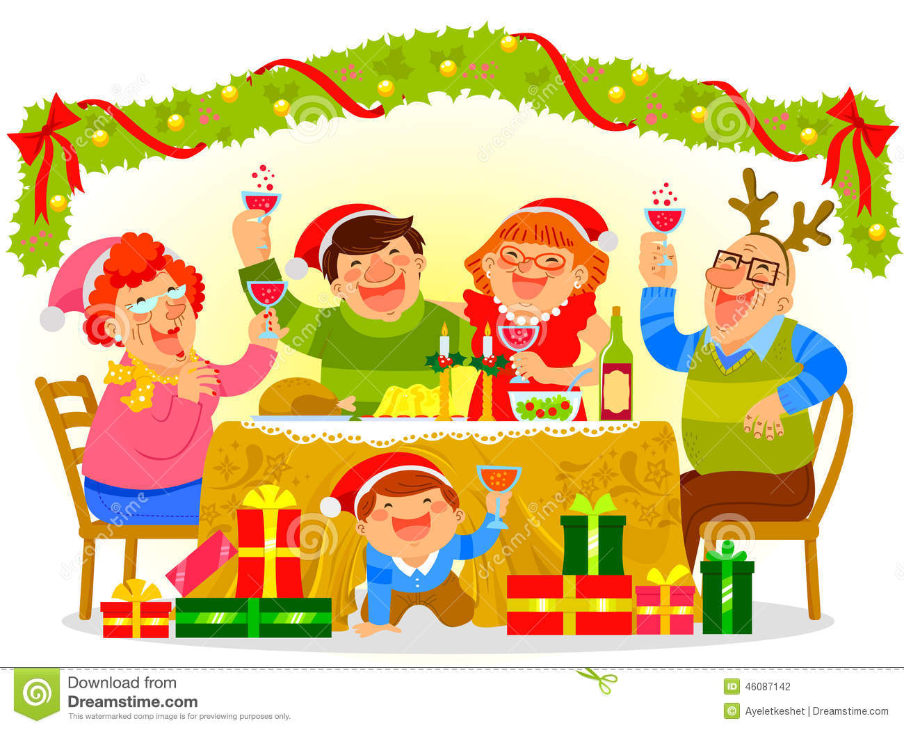 Family Christmas Dinner Clipart.