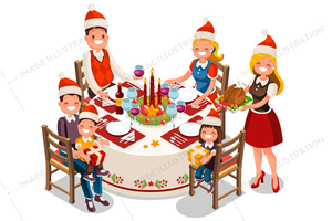 Cartoon Christmas Dinner Clipart.