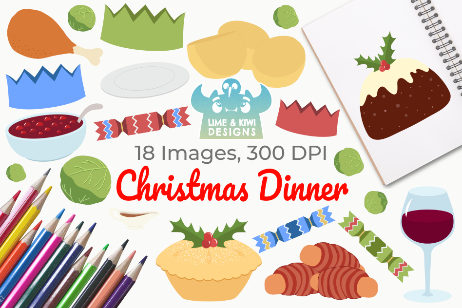 Christmas Dinner Clipart, Instant Download Vector Art.