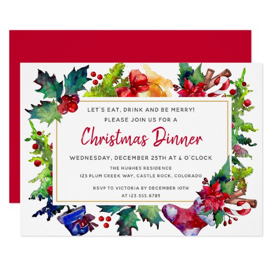 Merry Christmas Modern Watercolor Christmas Dinner Invitation.