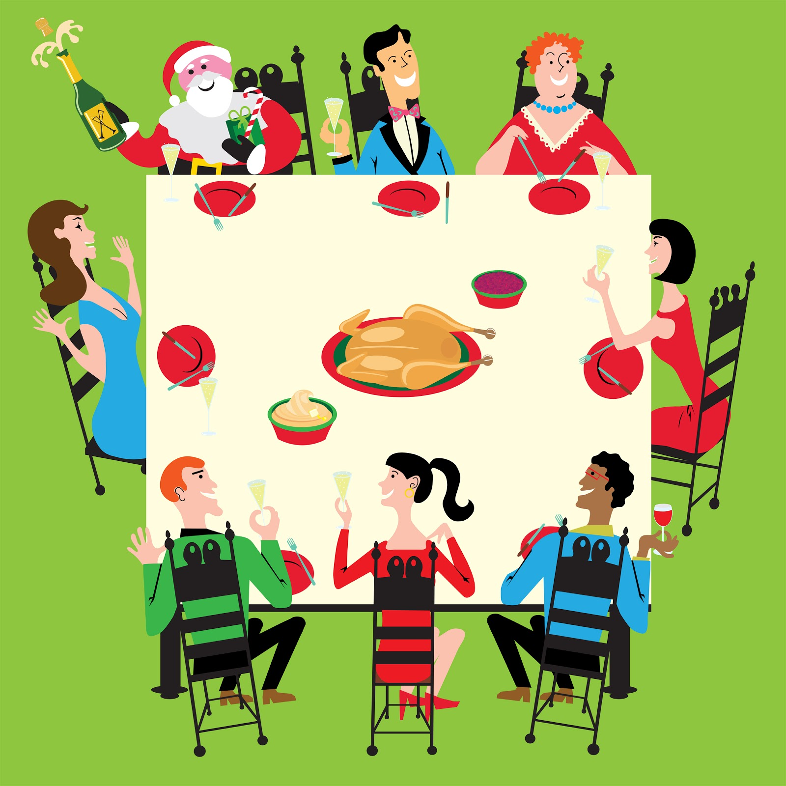 Holiday Dinner Clip Art.