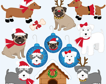 Christmas snow dog clipart.