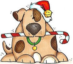 Christmas snow puppy clipart.