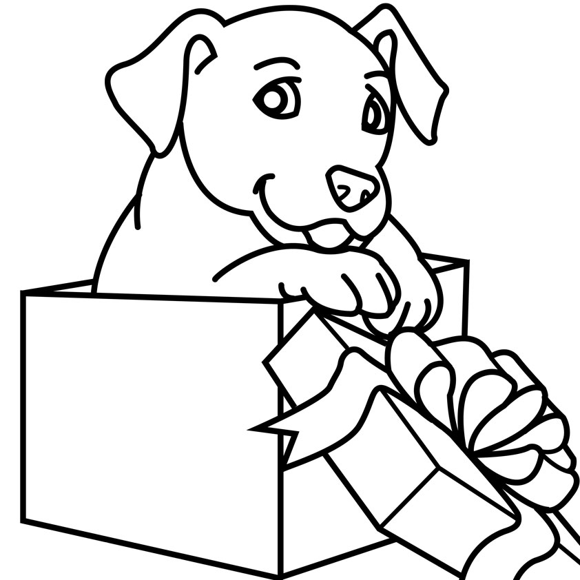 Christmas Dog Clipart Black And White.