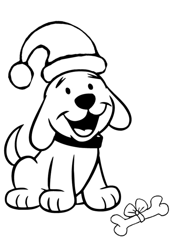 Christmas Dog Coloring Pages.