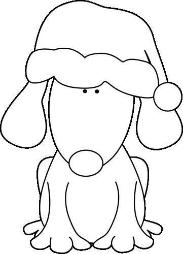 Black and White Santa Dog.