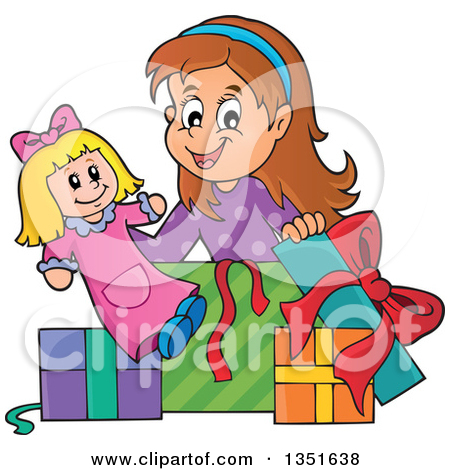 girl unwrapping birthday present clipart - Clipground