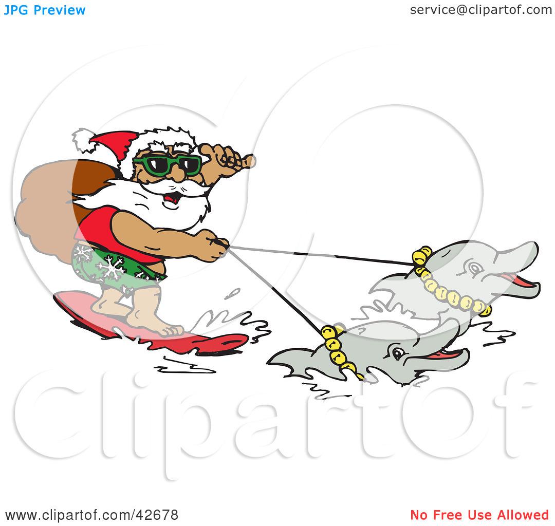 Christmas Dolphin Clipart.