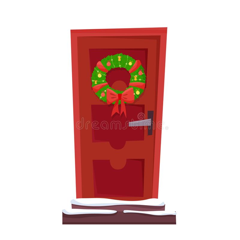 Door Christmas Wreath Stock Illustrations.