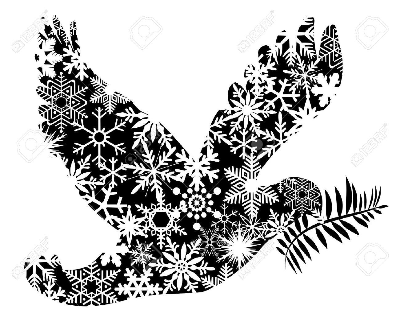 Free Christmas Dove Clip Art.