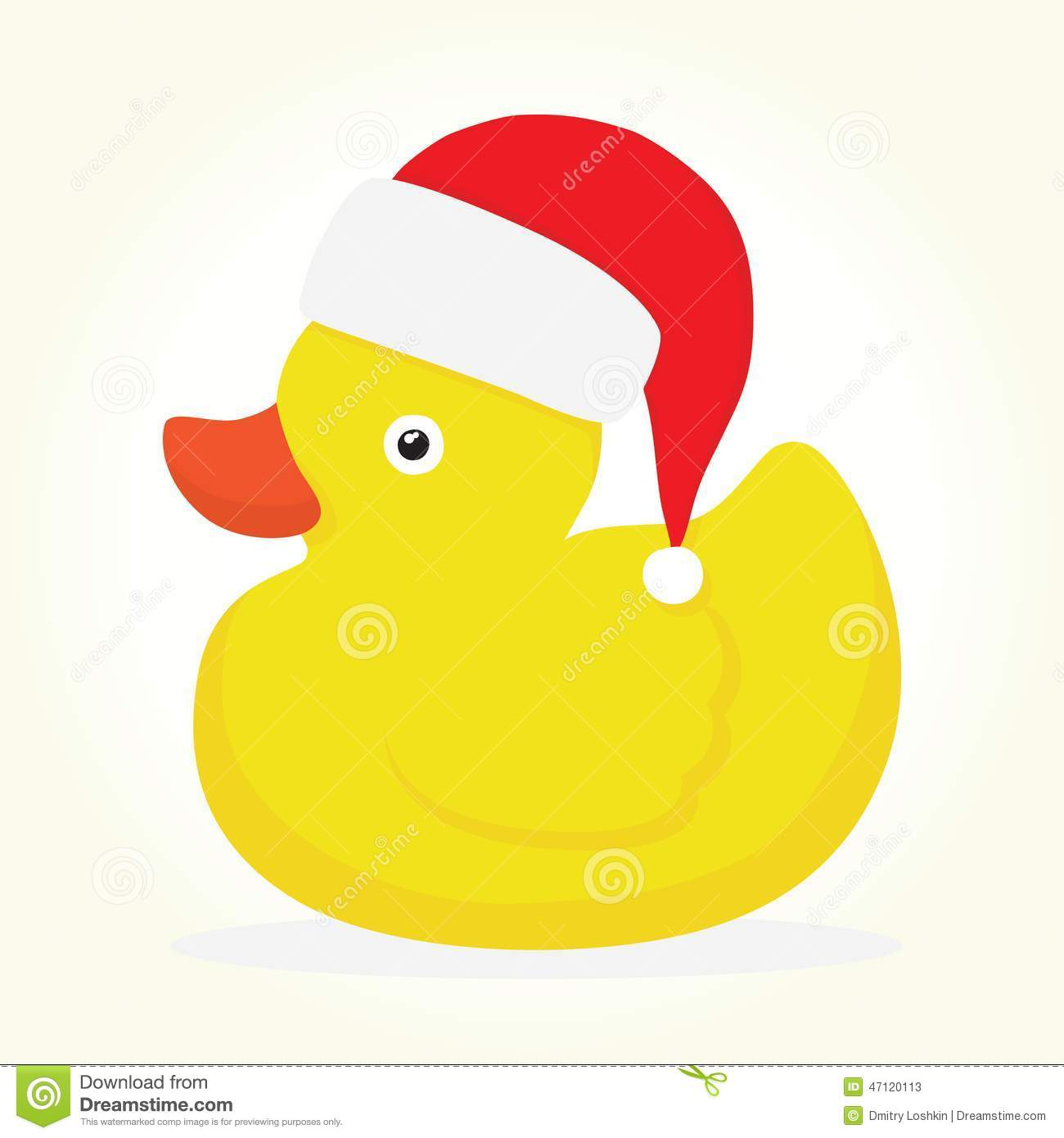 Rubber Duck Merry Christmas Stock Vector.