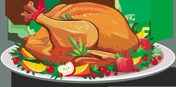 Christmas Turkey Dinner Clipart.
