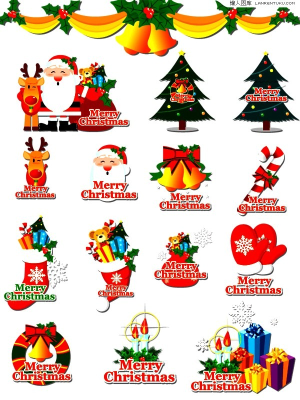 Variety of Christmas theme element.