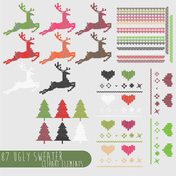 Ugly Christmas Sweater Clipart .PNG files Royalty Free.