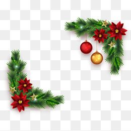 Vector Christmas Border, Pine, Flower, Christmas Elements PNG and.