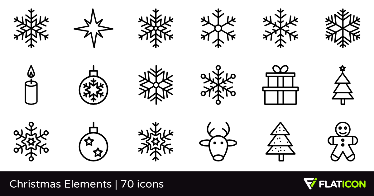 Christmas Elements 70 free icons (SVG, EPS, PSD, PNG files).