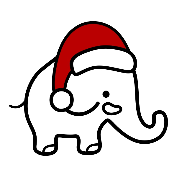 Christmas Elephant Clipart.