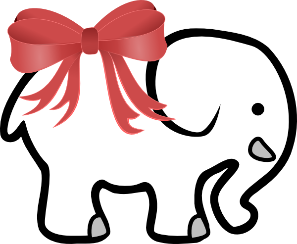 Christmas White Elephant Clipart.