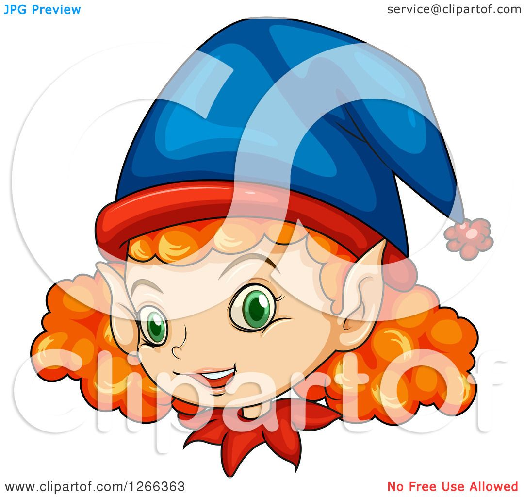 Clipart of a Curly Red Haired Female Christmas Elf Face.