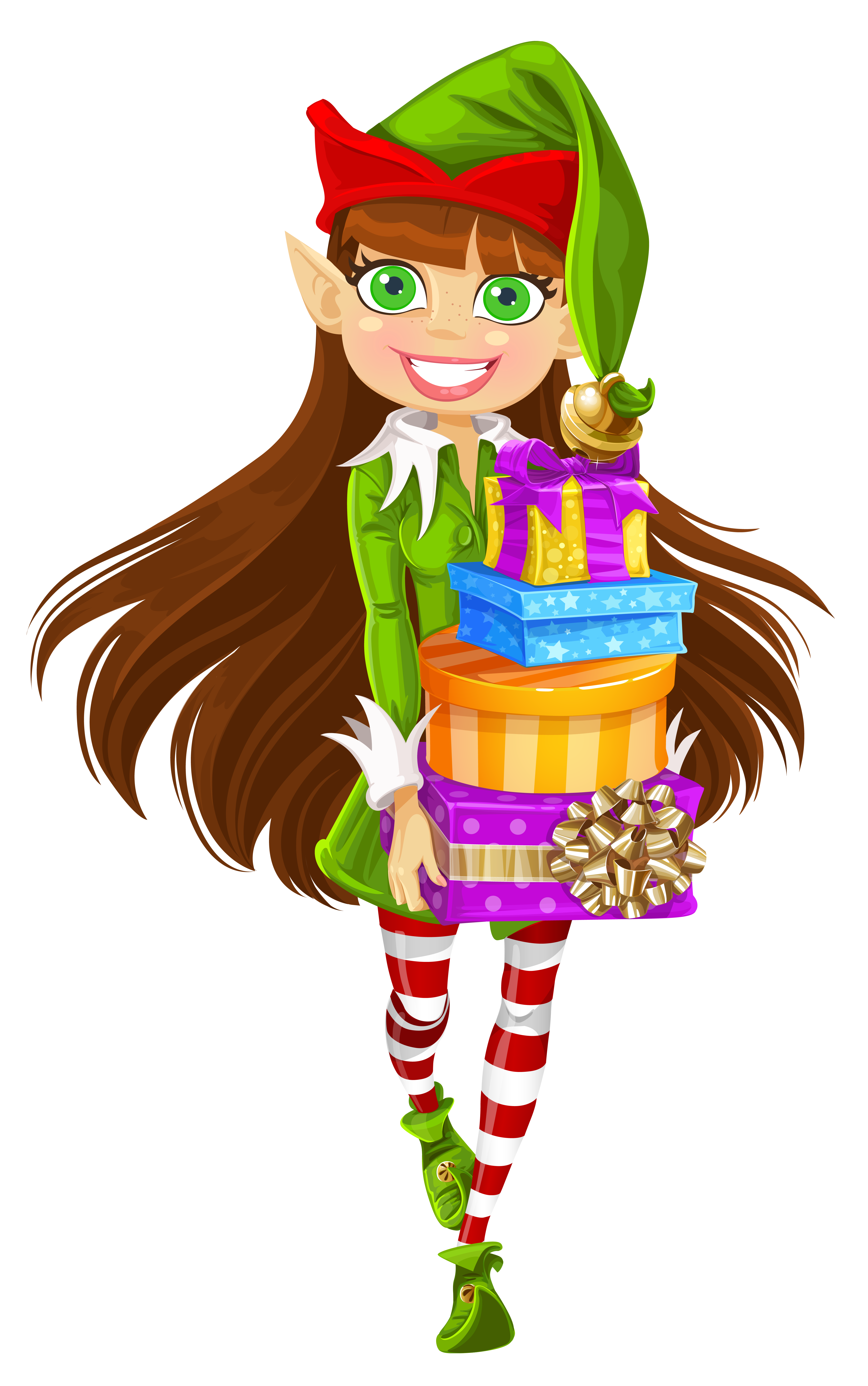 Christmas Girl Elf with Gifts PNG Picture.
