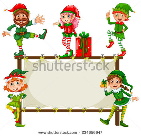 christmas elf frame vector clipart #11