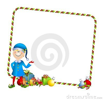 Xmas Elf With Gifts Border Royalty Free Stock Photography.