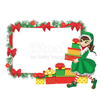 Christmas Elf With Empty Frame stock vector art 623519390.