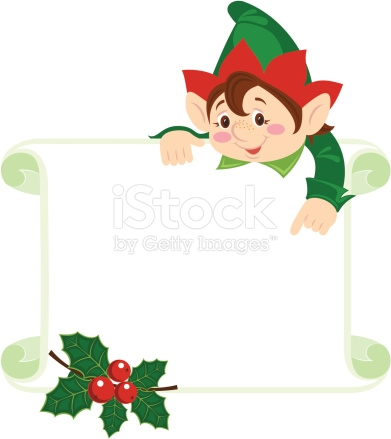 Christmas Frame With Elf On Top Pointing To The Frame stock vector.