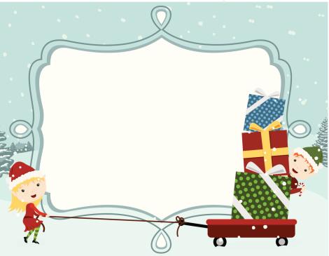 christmas elf frame vector clipart #5