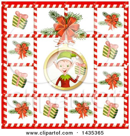 christmas elf frame vector clipart #9