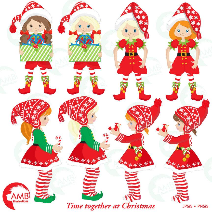 Christmas clipart, Christmas elves clipart, Christmas tree clipart,  AMB.