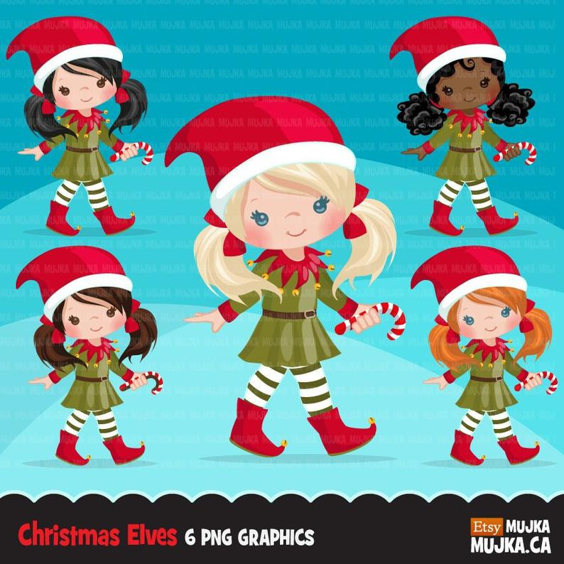 Christmas Elf Clipart. Cute noel illustration, elves with candy cane,  Holiday cute characters, Santa's helpers, planner stickers, scrapbook.