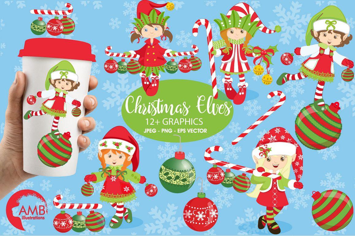 Christmas elves clipart, graphics, illustrations AMB.