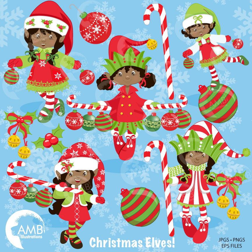African American Christmas Elves clipart, Christmas Girl Elves Clipart,  Dark Skin Elves, , AMB.