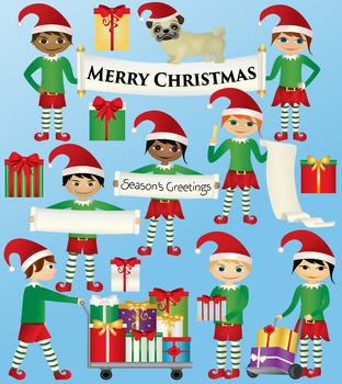 Christmas Elf Clipart.