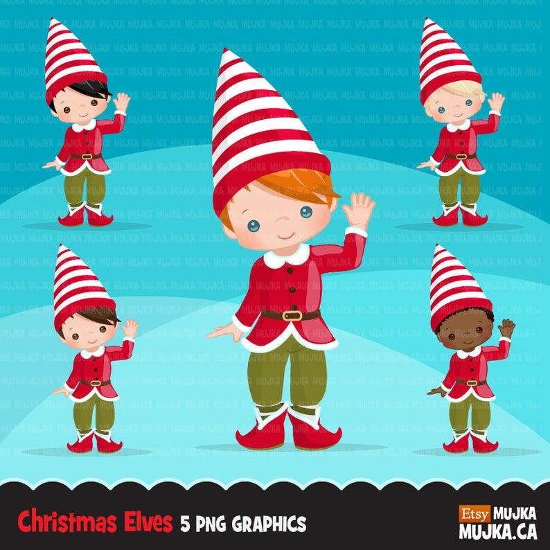 Christmas Elf Clipart. Cute noel illustration, elves waving hand, Holiday  cute characters, Santa's helpers, planner stickers, scrapbook.