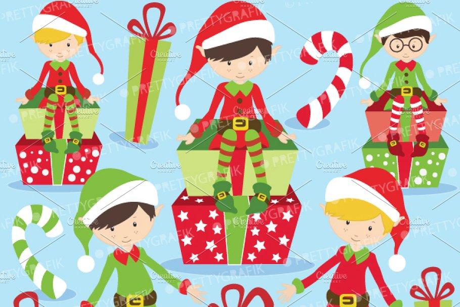 Christmas Elves boys clipart.