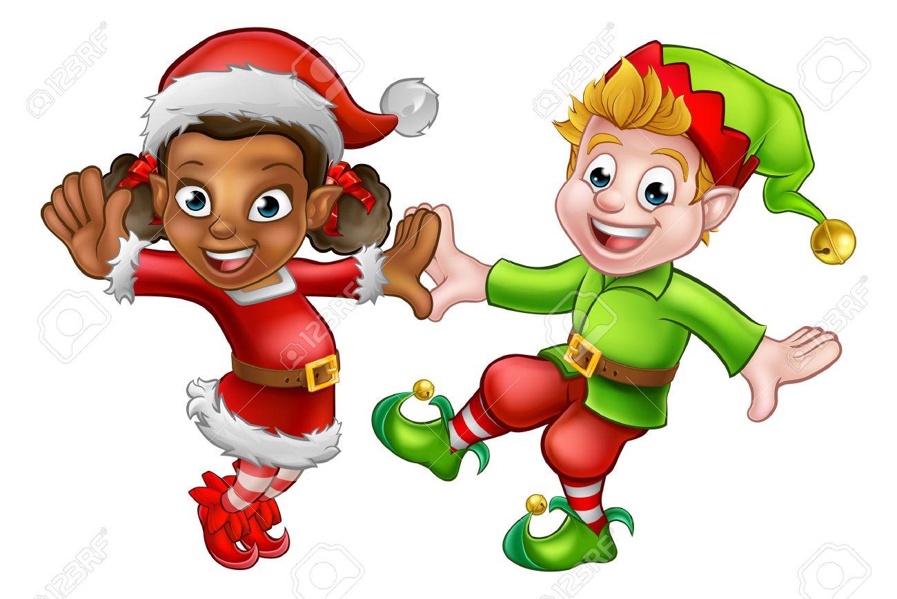 Two dancing cartoon Christmas elves Santas little helpers.