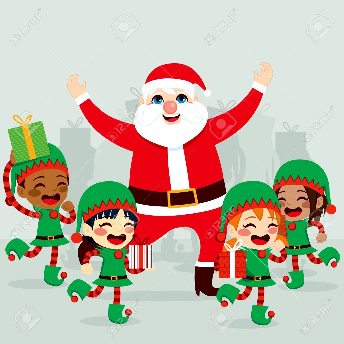 Santa Claus with little helper elves dancing around and preparing...