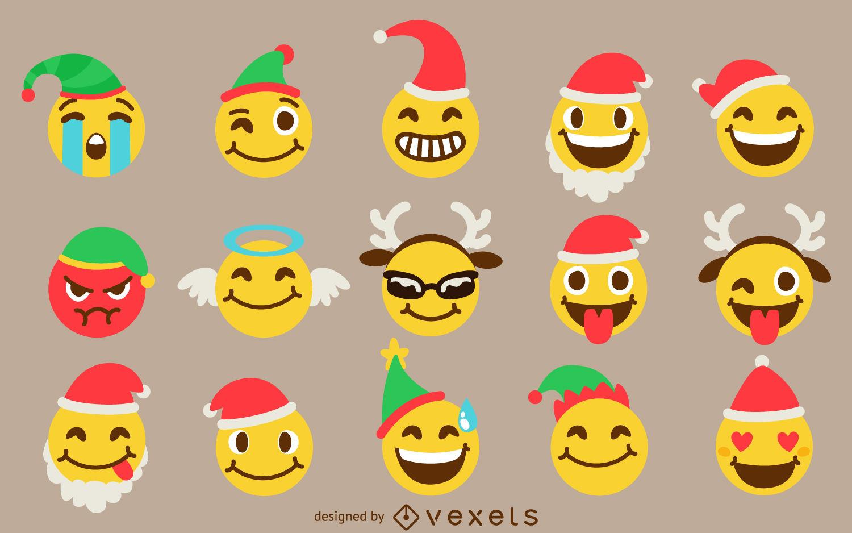 Christmas emoji set.
