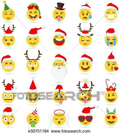Christmas Emoticon vector emoji Clipart.