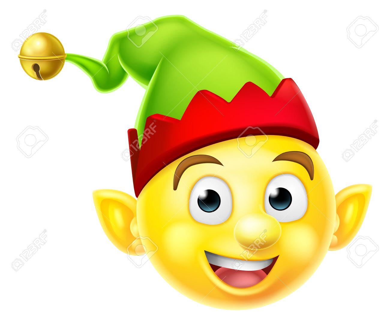 A cute Christmas Elf Santas helper emoticon emoji smiley icon.