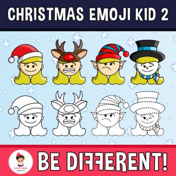 Christmas Emoji Kid Clipart 2 (PartyHead Kiddos).