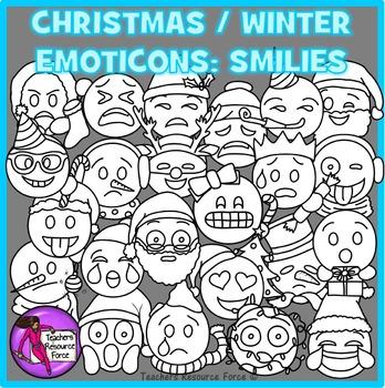 Christmas / Winter Emoji Clip Art: Smiley Faces Emoticons Clipart.