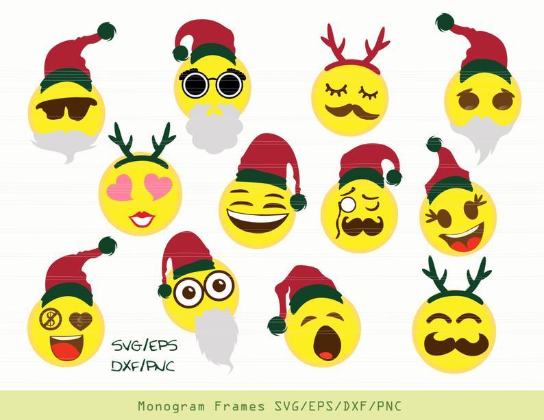 Christmas Emoji SVG, Christmas Emoji Dxf, Christmas Emoji Clipart, Sticker,  Silhouette Cameo, Svg Files for Cricut Vinyl Ready..