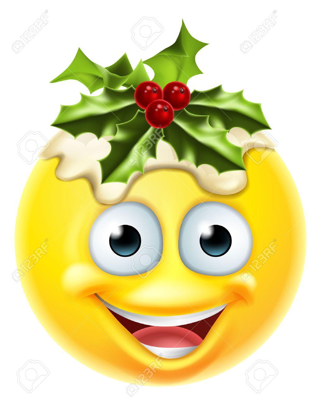 A Christmas pudding festive emoticon emoji character.