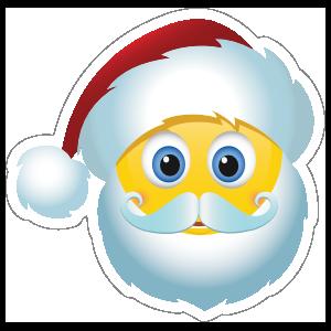 Cute Santa Claus Christmas Emoji Sticker.