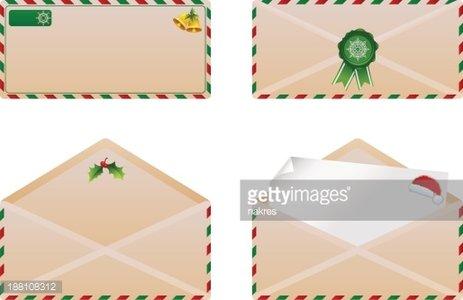 christmas envelope set Clipart Image.