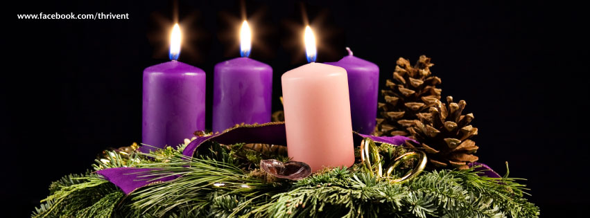 Third Sunday advent candles Facebook cover photo.